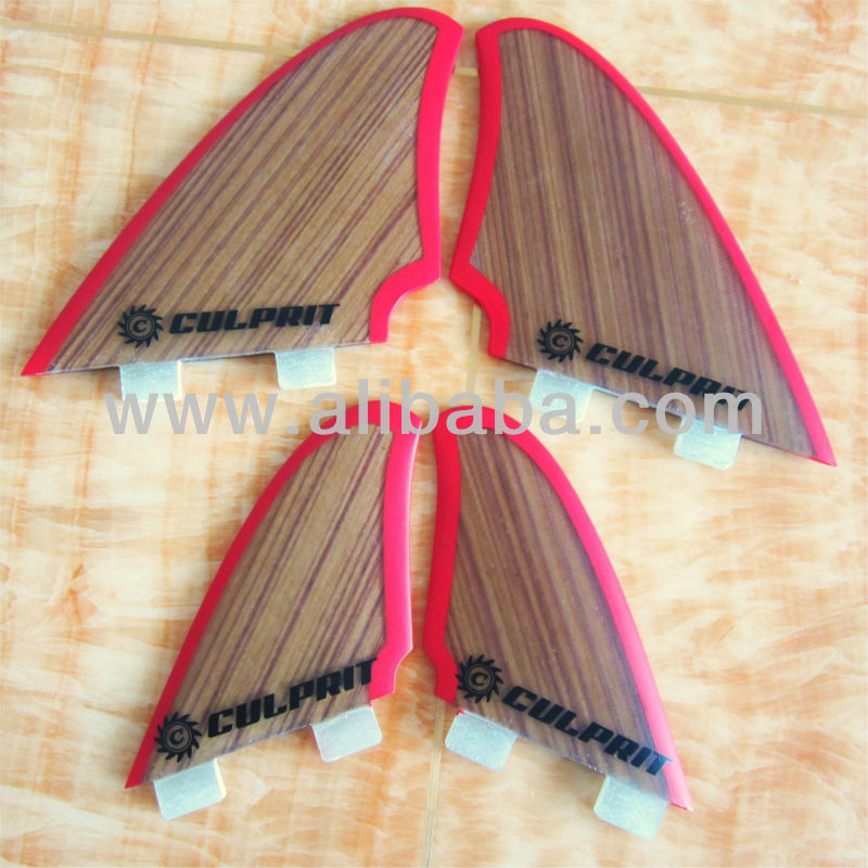 Quad bamboo surfboard fins