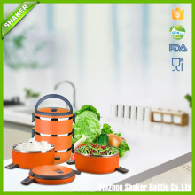 Shaker 2.7L Food Carrier Stacking Lunch Box,Stainless Steel Interior Stacking 3 Tier Food Container