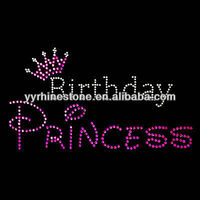 Birthday Princess rhinestone hot fix iron on transfer