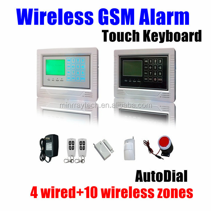 Alarm LCD 4 wired and 10 wireless zones Security Wireless GSM Touch keyboard Autodial Home Office Burglar Intruder Alarm System