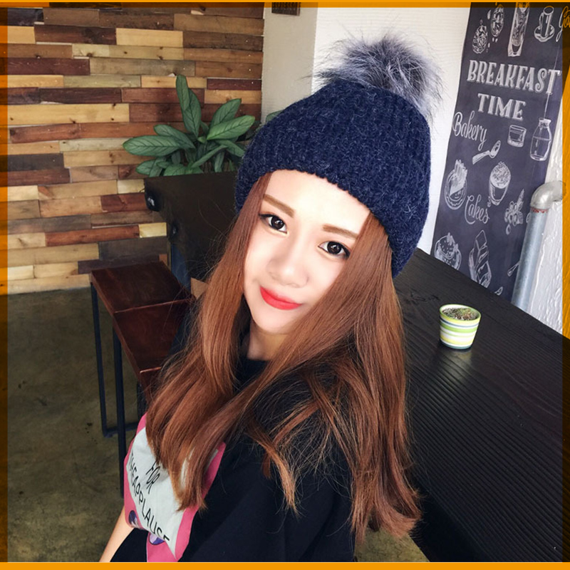 Autumn/winter fashion lady head hat rabbit hair ball wool warm hat