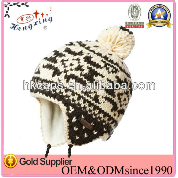New fashion good looks custom cute crochet beanie hat with braid