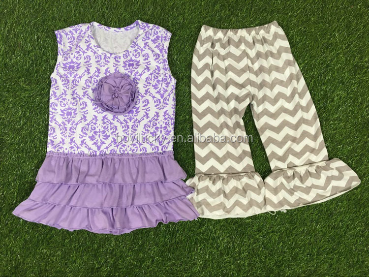 Wholesale boutique children clothing 2016 baby cotton frocks designs latest girls suit top and capri pants