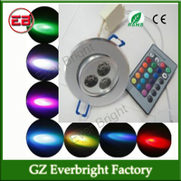 Hot sell 3W 85-265V RGB Celling Light LED Down lighting 16colors RGB + Remote Control Wall Lamps