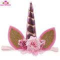 Birthday Party Hair Accessories Unicorn Headband Glitter Hairband Wholesale Unicorn Flower Headbands For Kids