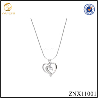 Girlfriend high quality silver delicate heart pendant necklace 925 sterling silver manufacturer China jewelry supply