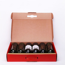 6 bottle corrugated cardboard wine packaging box with handle
