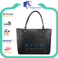 Promotional black pu leather laminated tote shopping bags
