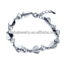 china supplier Gorgeous silver heart charm bracelet