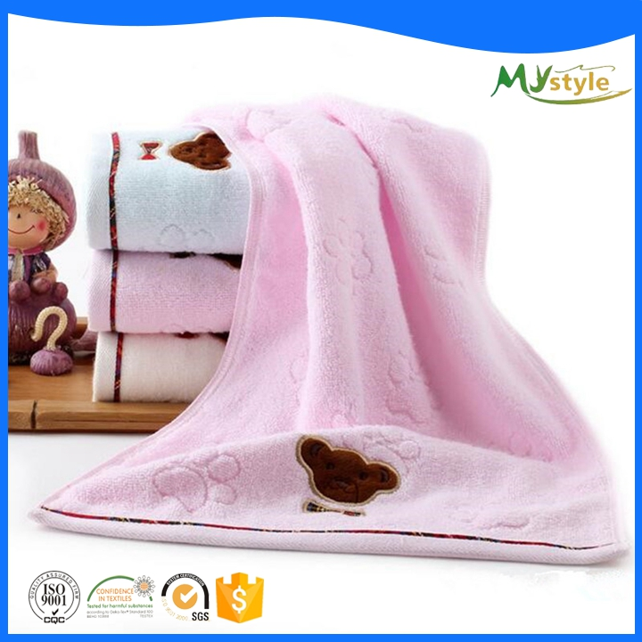high quality cartoon embroidery logo velvet hand towel 100% cotton fabric