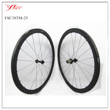Wide bicycle wheels 700C toray carbon fiber bike wheelset 38mm x 25mm tubular bike rims with Bitex hub