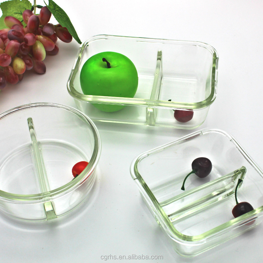 Classical rainbow color 2 section Premium Glass Meal Prep Food Storage Container 3 Pieces Set with Snap Lid, BPA-Free