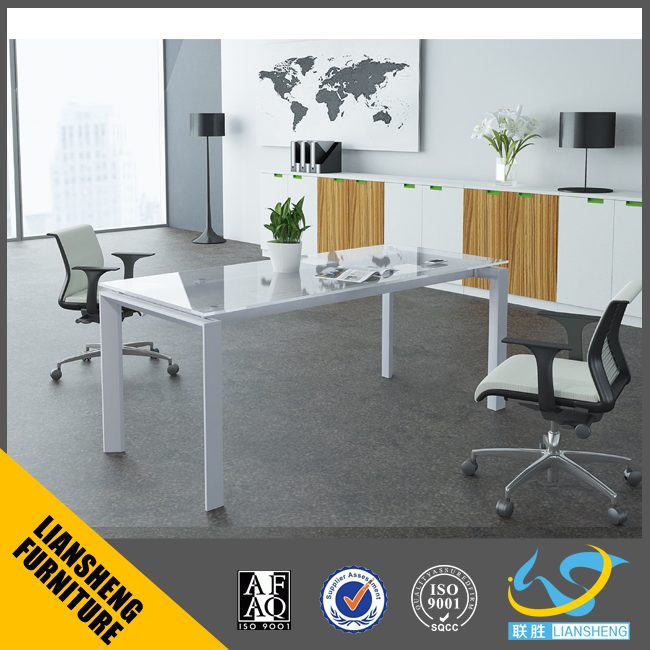 Special design modern White aluminum frame glass office desk