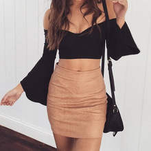 F20294A High quality latest autumn skirt design pictures ladies short skirt designs bodycon pu mini skirt for women