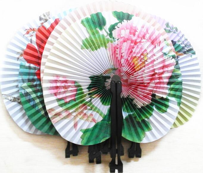 ancient china crafts flower folding fan paper
