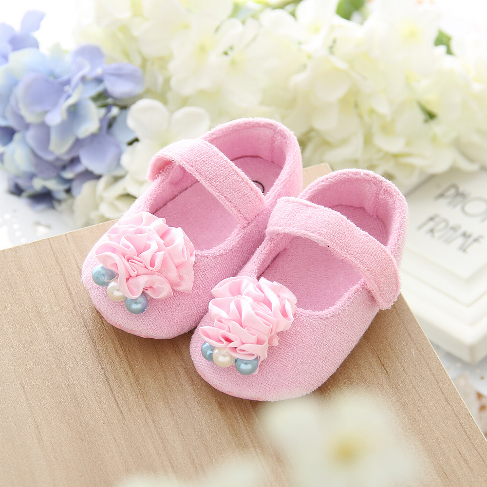 high quality cute pink flower crochet baby shoes kids flower girl shoes soft girl toddler dress shoes