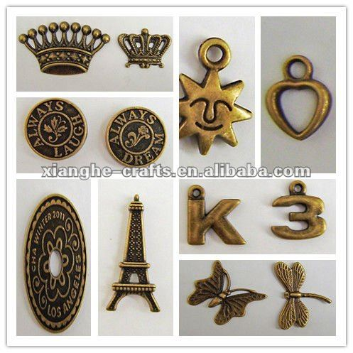 Auntiqued metal alphabet scrapbooking charms
