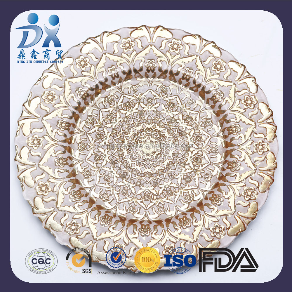 2017 new designed white gold petal shaped glass charger plates,glass dinner plates wholesale