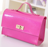 New products 2016 cute candy color shiny ladies hangbag pu fashion messenger bag good quality hotsale fashion brand women bags