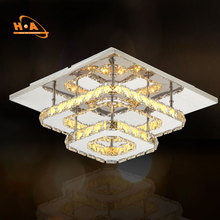 Luxury square mounted led ceiling crystal chandelier pendant light