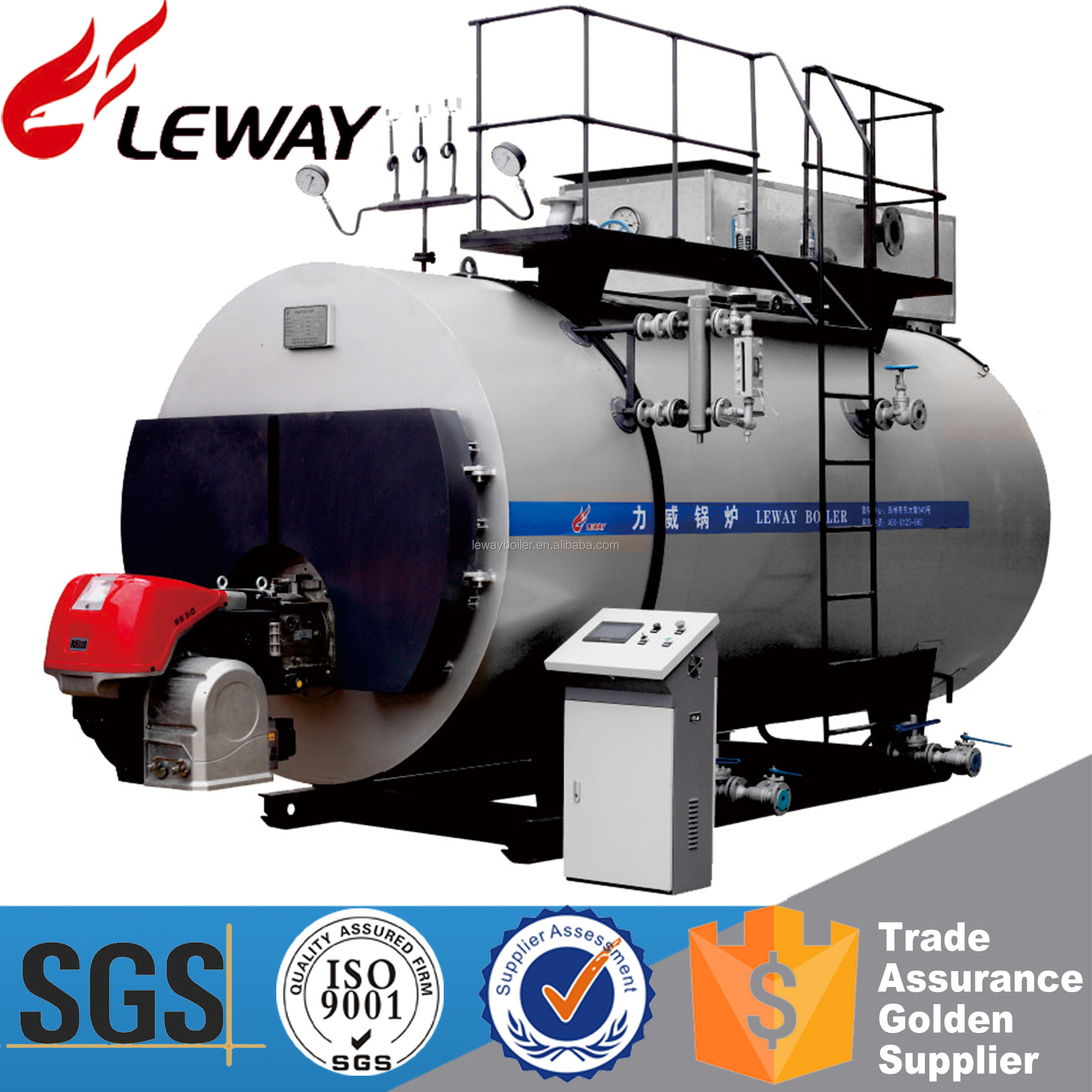 Large Heating Surface 1Ton Gas / Oil Fired Steam Boiler With Good Quality