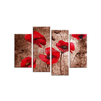 Canvas red flower oil paintings by numbers for home decor