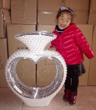 handmade fiber big chinese wedding decoration floor vase in heart shape for event rental & arrange flower