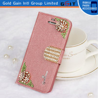 Sparkling Bling Designed Flowers Crystal Diamond Flip Case Protector For Huawei G510