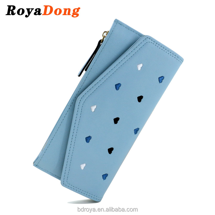 Royadong 2017 New Korean Style Fashion Simple Embroidered Lines 2-Fold Pu Leather Women Wallet