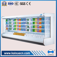 refrigerated produce display chiller with night curtain