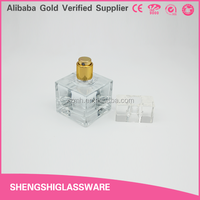 clear small 30ml square perfume fragrance bottle with transparent surlyn cap