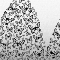girl wearing butterfly dress black and white image style New arrival home textile fabric
