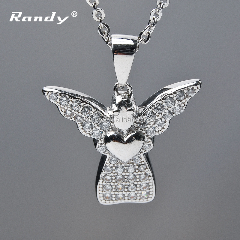 Hot Sale Ankh Necklace Silver Angel Wings Cross Pictures Of Diamond Necklace