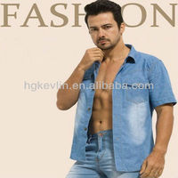 Fashion casual style brand name latest design men's denim shirt