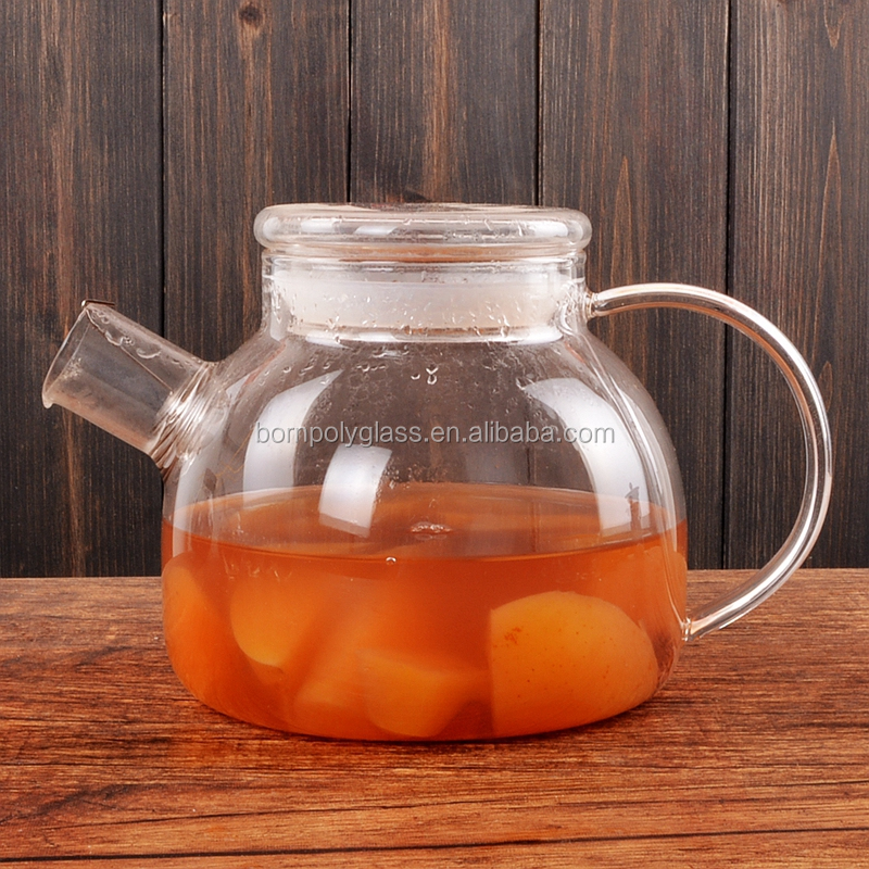 Custom printed teapot hot sale heat resistant glass Teapot with infuser