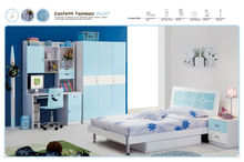 2014 Comfortable light blue kids bedroom furniture was made from E1 MDF board and environmental protection paint for children