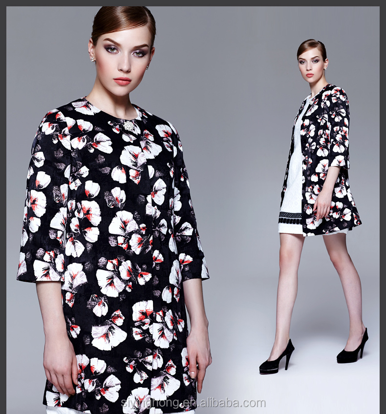 Lady autumn fashion half sleeve loose printed wind coats