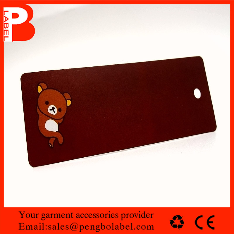 Matte Varnish Brownish Red Little Bear paper hang tag with punch hole for kids garments