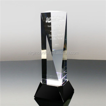 High quality blank raw crystal glass trophy block with black base for engraving