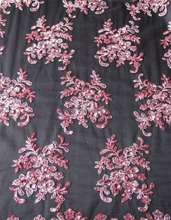 latest fashion embroidery tulle fabric with handwork embroidery designs beads sequence fabric for suit or evening dresses