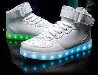 2016 Fashion PU Leather LED light shoes White And Black Color Colorful customized light running shoes