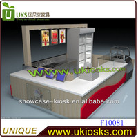 Manufacturer sale food kiosk design pretzel kiosks with manmade stone countertop in mall