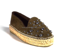 leather loafer heel shoes for women/lady