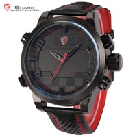 Shark Luxury Digital LED Dual Time Red Analog Sport Date Day Men Leather Quartz Watch