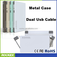 4000mAh ultra thin card power bank with dual usb cable inside
