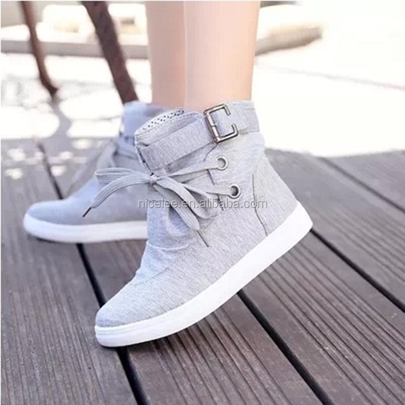 NS0045 hot sale women fashion canvas boots ladies high shoes plus sizes shoes canvas shoes
