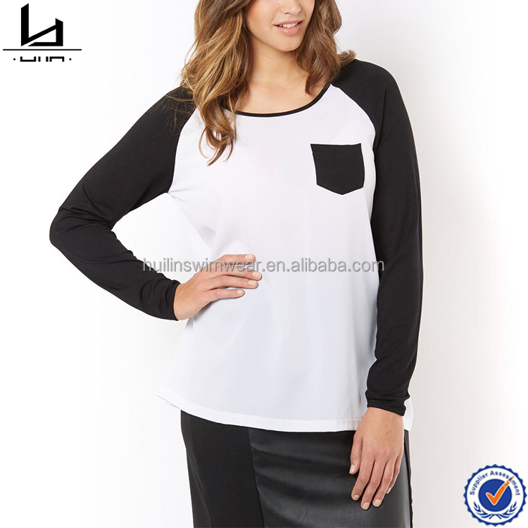 Oem service high quality 100% polyester breast pocket round neck t shirt women