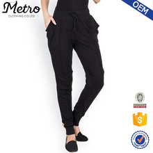 Women Stylish Knitted Panelled Design Black Sport Polyester Track Pants