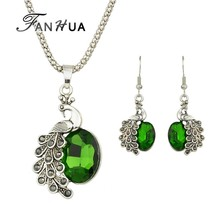Beautiful Colorful Rhinestone Peacock Pendant Necklace Earrings Set