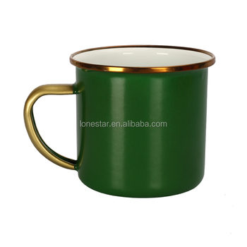 Gold rimmed wholesale cast iron metal camping customized enamel mug small order Army Green